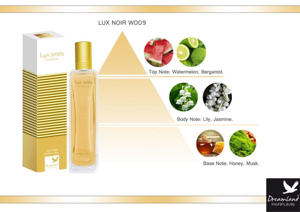 piramida zapachu - słodki perfum dla kobiet lux noire